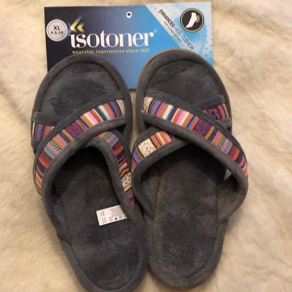Isotoner Enhanced Heel Cushion Slippers XL 9.5-10